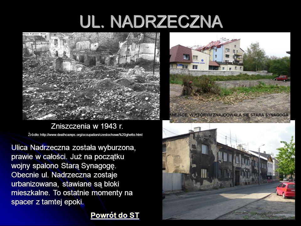 UL. NADRZECZNA Zniszczenia w 1943 r. Źródło: http://www.deathcamps.org/occupation/czestochowa%20ghetto.html Ulica Nadrzeczna została wyburzona, prawie