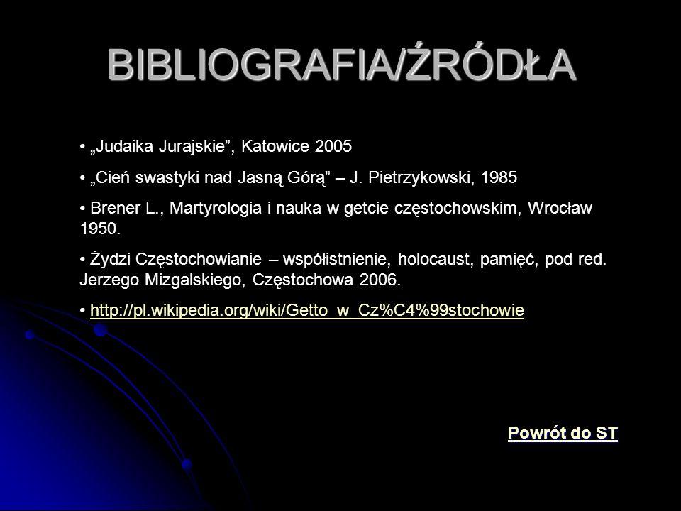 """BIBLIOGRAFIA/ŹRÓDŁA """"Judaika Jurajskie"""", Katowice 2005 """"Cień swastyki nad Jasną Górą"""" – J. Pietrzykowski, 1985 Brener L., Martyrologia i nauka w getci"""