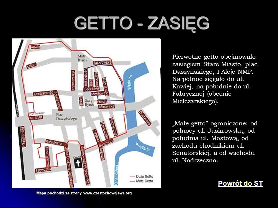 GETTO - ZASIĘG GETTO - ZASIĘG Mapa pochodzi ze strony www.czestochowajews.org Pierwotne getto obejmowało zasięgiem Stare Miasto, plac Daszyńskiego, I