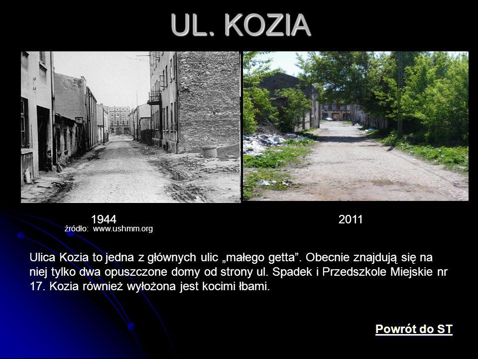 """UL. KOZIA 1944 źródło: www.ushmm.org 2011 Ulica Kozia to jedna z głównych ulic """"małego getta"""". Obecnie znajdują się na niej tylko dwa opuszczone domy"""