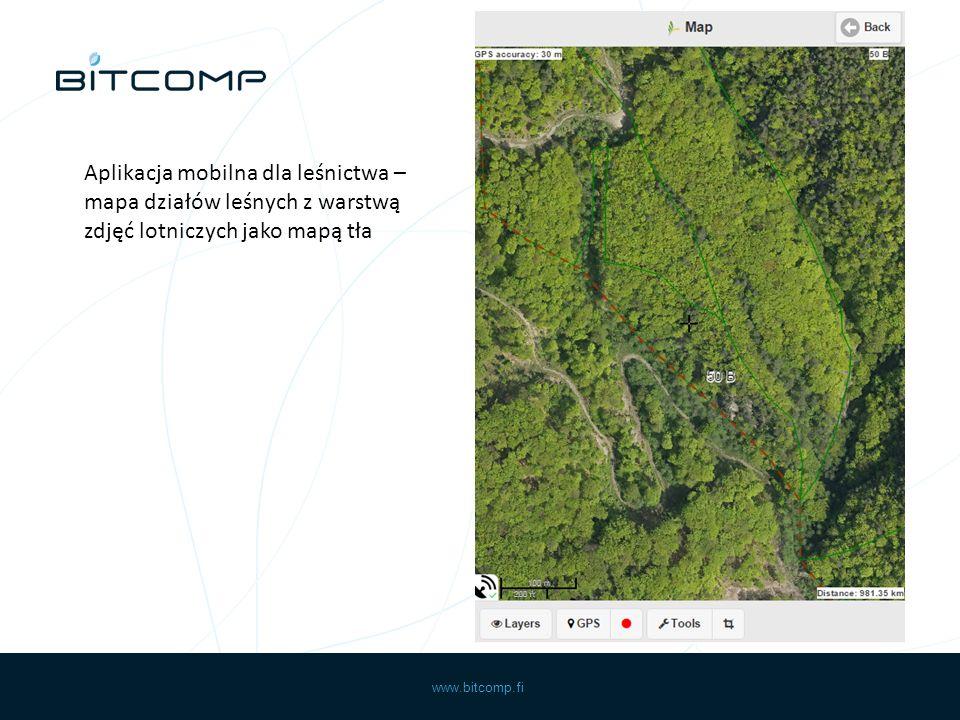 www.bitcomp.fi Aplikacja mobilna dla leśnictwa – mapa działów leśnych z warstwą zdjęć lotniczych jako mapą tła