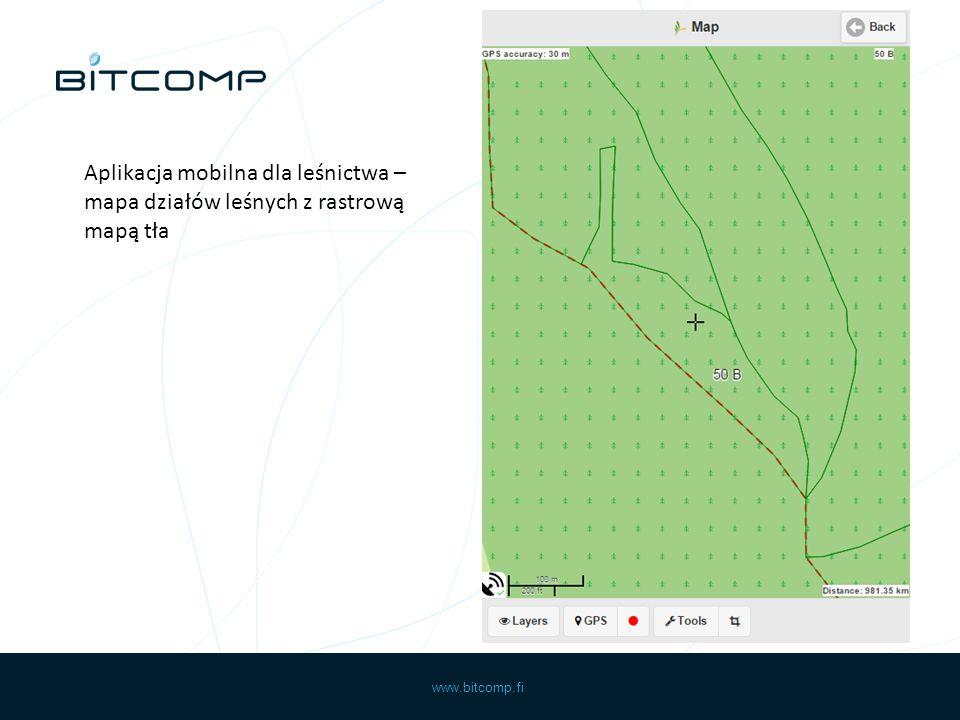 www.bitcomp.fi Aplikacja mobilna dla leśnictwa – mapa działów leśnych z rastrową mapą tła