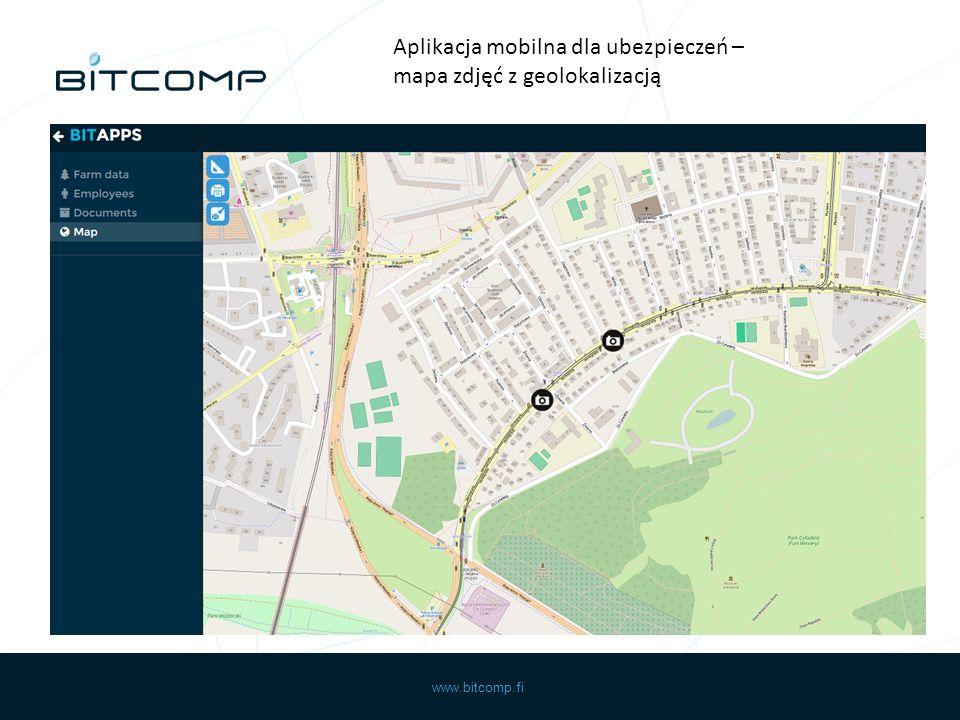 www.bitcomp.fi Aplikacja mobilna dla ubezpieczeń – mapa zdjęć z geolokalizacją