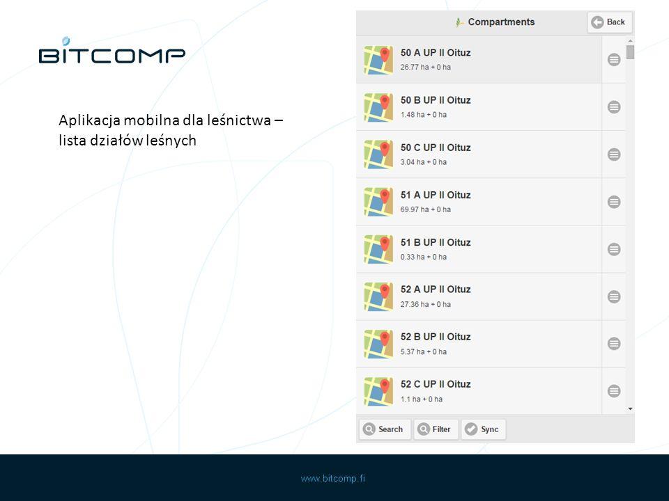 www.bitcomp.fi Aplikacja mobilna dla leśnictwa – lista działów leśnych