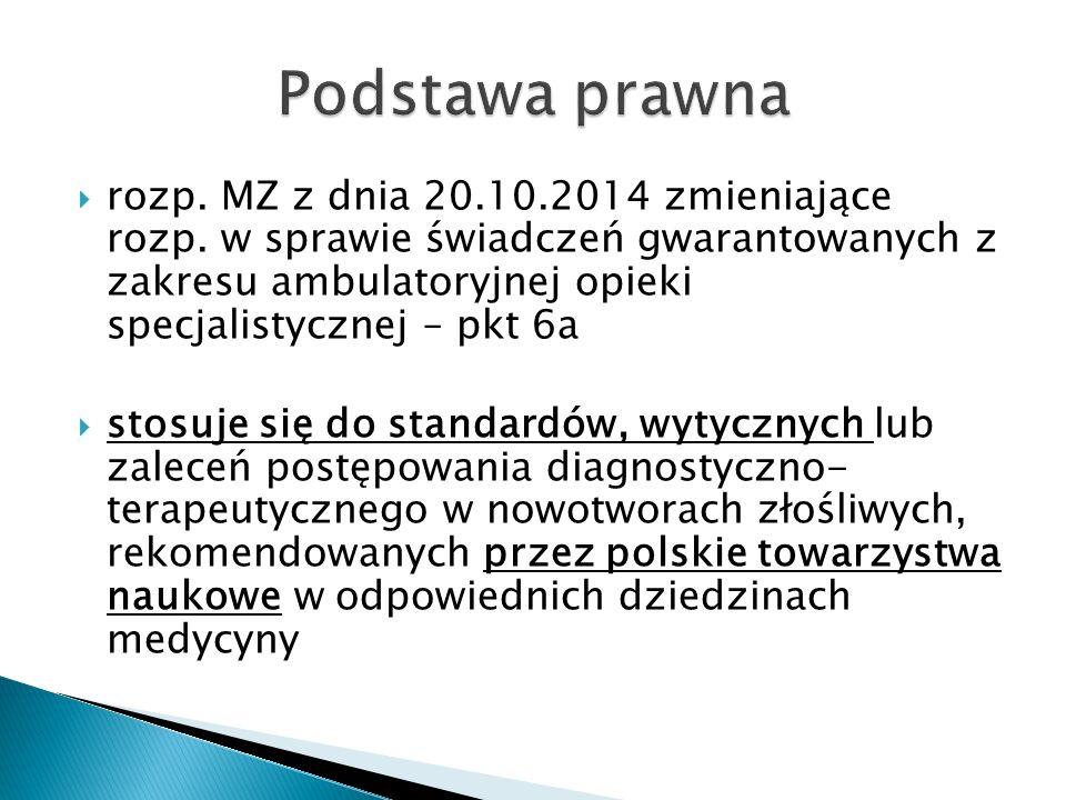  rozp. MZ z dnia 20.10.2014 zmieniające rozp. w sprawie świadczeń gwarantowanych z zakresu ambulatoryjnej opieki specjalistycznej – pkt 6a  stosuje