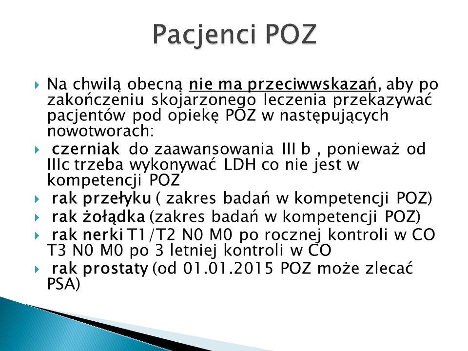  Na chwilą obecną nie ma przeciwwskazań, aby po zakończeniu skojarzonego leczenia przekazywać pacjentów pod opiekę POZ w następujących nowotworach:  czerniak do zaawansowania III b, ponieważ od IIIc trzeba wykonywać LDH co nie jest w kompetencji POZ  rak przełyku ( zakres badań w kompetencji POZ)  rak żołądka (zakres badań w kompetencji POZ)  rak nerki T1/T2 N0 M0 po rocznej kontroli w CO T3 N0 M0 po 3 letniej kontroli w CO  rak prostaty (od 01.01.2015 POZ może zlecać PSA)