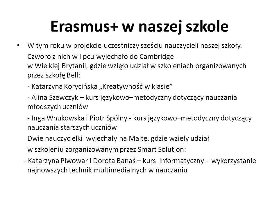 Erasmus+ w naszej szkole W tym roku w projekcie uczestniczy sześciu nauczycieli naszej szkoły.