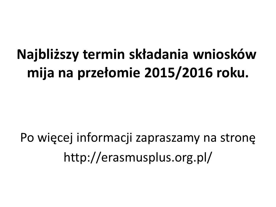 Najbliższy termin składania wniosków mija na przełomie 2015/2016 roku.