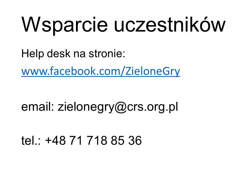 Wsparcie uczestników Help desk na stronie: www.facebook.com/ZieloneGry email: zielonegry@crs.org.pl tel.: +48 71 718 85 36