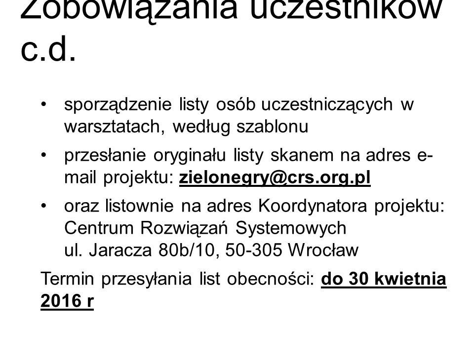 Zobowiązania uczestników c.d. sporządzenie listy osób uczestniczących w warsztatach, według szablonu przesłanie oryginału listy skanem na adres e- mai