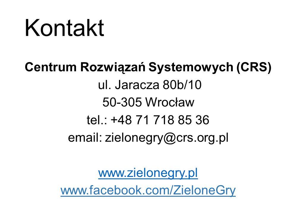 Kontakt Centrum Rozwiązań Systemowych (CRS) ul. Jaracza 80b/10 50-305 Wrocław tel.: +48 71 718 85 36 email: zielonegry@crs.org.pl www.zielonegry.pl ww