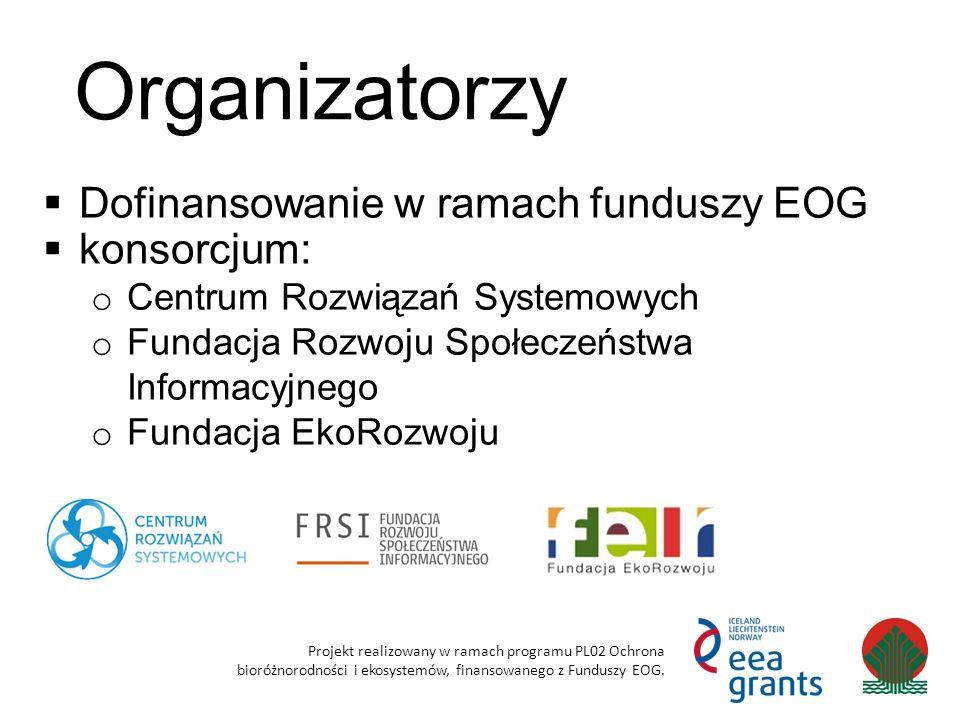 Organizatorzy Projekt realizowany w ramach programu PL02 Ochrona bioróżnorodności i ekosystemów, finansowanego z Funduszy EOG.  Dofinansowanie w rama