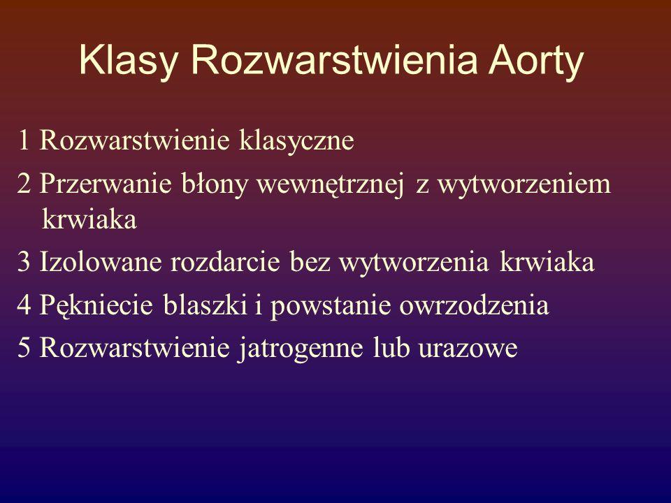 Klasy Rozwarstwienia Aorty 1 Rozwarstwienie klasyczne 2 Przerwanie błony wewnętrznej z wytworzeniem krwiaka 3 Izolowane rozdarcie bez wytworzenia krwi