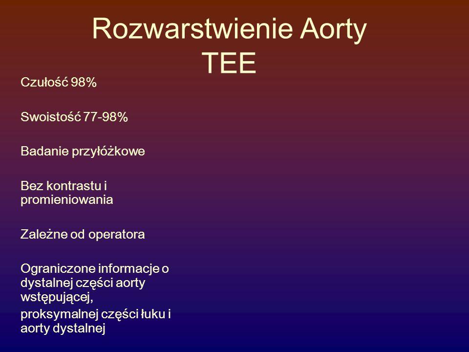 Rozwarstwienie Aorty TEE Czułość 98% Swoistość 77-98% Badanie przyłóżkowe Bez kontrastu i promieniowania Zależne od operatora Ograniczone informacje o