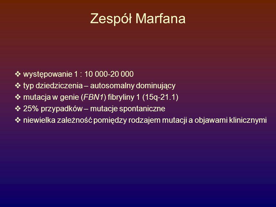 """Zespół Marfana - objawy  Układ kostny (> 4) kryteria większe  Proporcja górnej do dolnej części ciała 0,85 (N=0,93)  Zasięg ramion powyżej wzrostu (proporcja > 1,05)  Arachnodaktylia  dodatni objaw kciuka  dodatni objaw nadgarstkowy  Skolioza > 20 0 lub kyfoza  Klatka piersiowa """"kogucia  Zmniejszony wyprost w stawie łokciowym (< 170 0 )  Płaskostopie  Wysunięcie panewki stawu biodrowego  Kryteria mniejsze  Dolichostenomelia  Dolichocephalia  Wzrost > 95 percentyla  Uogólniona nadmierna ruchomość stawów  Osteopenia/osteoporoza"""