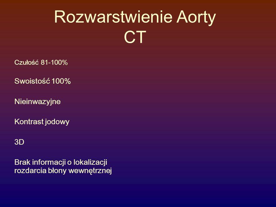 Rozwarstwienie Aorty CT Czułość 81-100% Swoistość 100% Nieinwazyjne Kontrast jodowy 3D Brak informacji o lokalizacji rozdarcia błony wewnętrznej