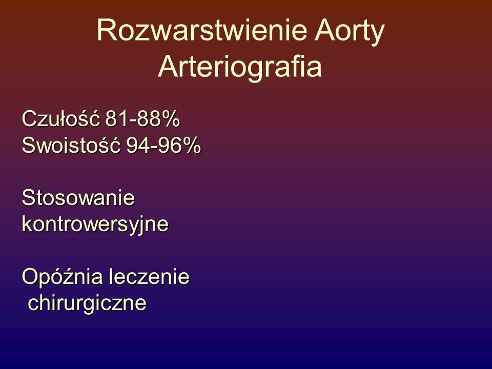 Rozwarstwienie Aorty Arteriografia Czułość 81-88% Swoistość 94-96% Stosowaniekontrowersyjne Opóźnia leczenie chirurgiczne chirurgiczne