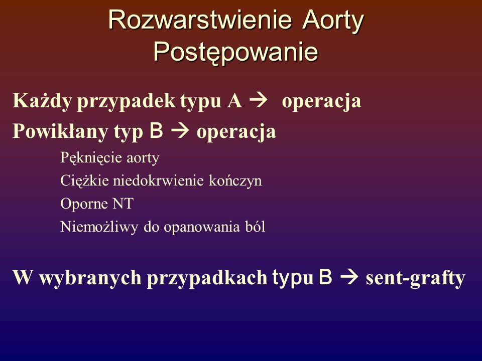 Rozwarstwienie Aorty Postępowanie Każdy przypadek typu A  operacja Powikłany typ B  operacja Pęknięcie aorty Ciężkie niedokrwienie kończyn Oporne NT