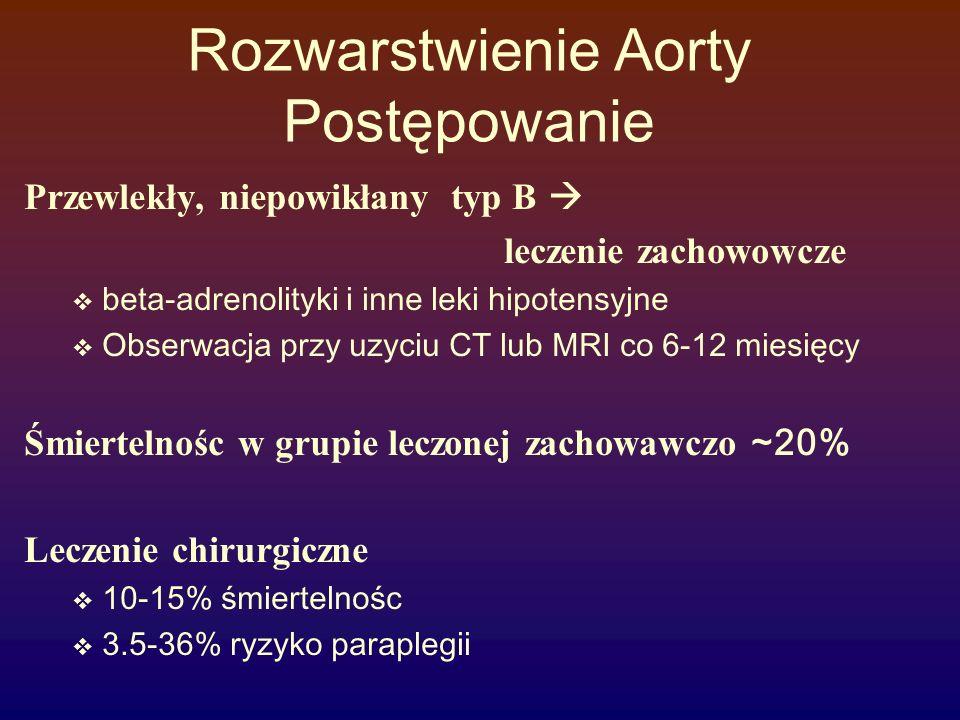 Rozwarstwienie Aorty Post ę powanie Przewlekły, niepowikłany typ B  leczenie zachowowcze  beta-adrenolityki i inne leki hipotensyjne  Obserwacja pr