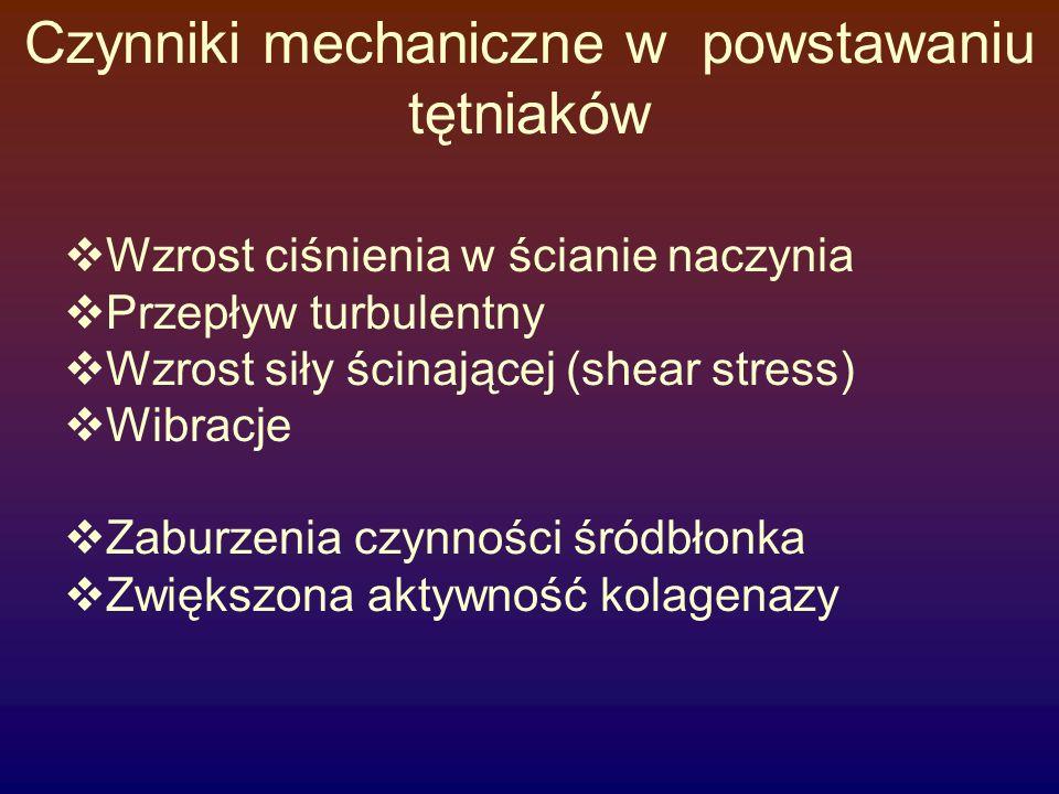 Czynniki mechaniczne w powstawaniu tętniaków  Wzrost ciśnienia w ścianie naczynia  Przepływ turbulentny  Wzrost siły ścinającej (shear stress)  Wi