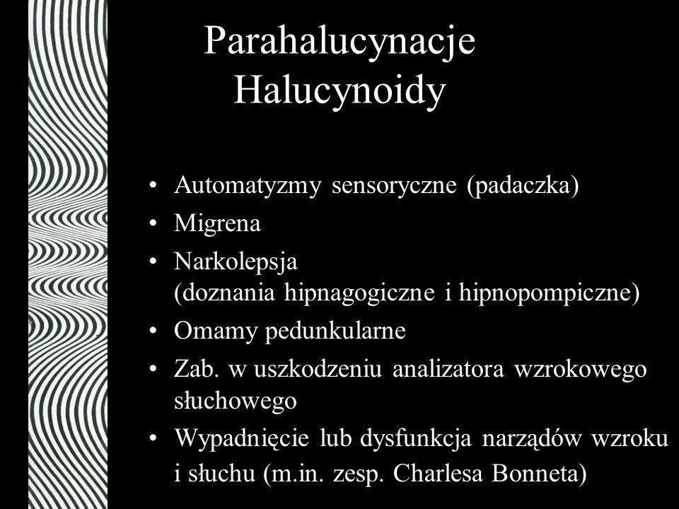 Parahalucynacje Halucynoidy Automatyzmy sensoryczne (padaczka) Migrena Narkolepsja (doznania hipnagogiczne i hipnopompiczne) Omamy pedunkularne Zab. w