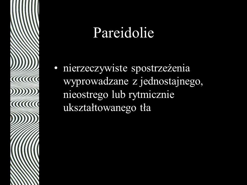 Pareidolie nierzeczywiste spostrzeżenia wyprowadzane z jednostajnego, nieostrego lub rytmicznie ukształtowanego tła