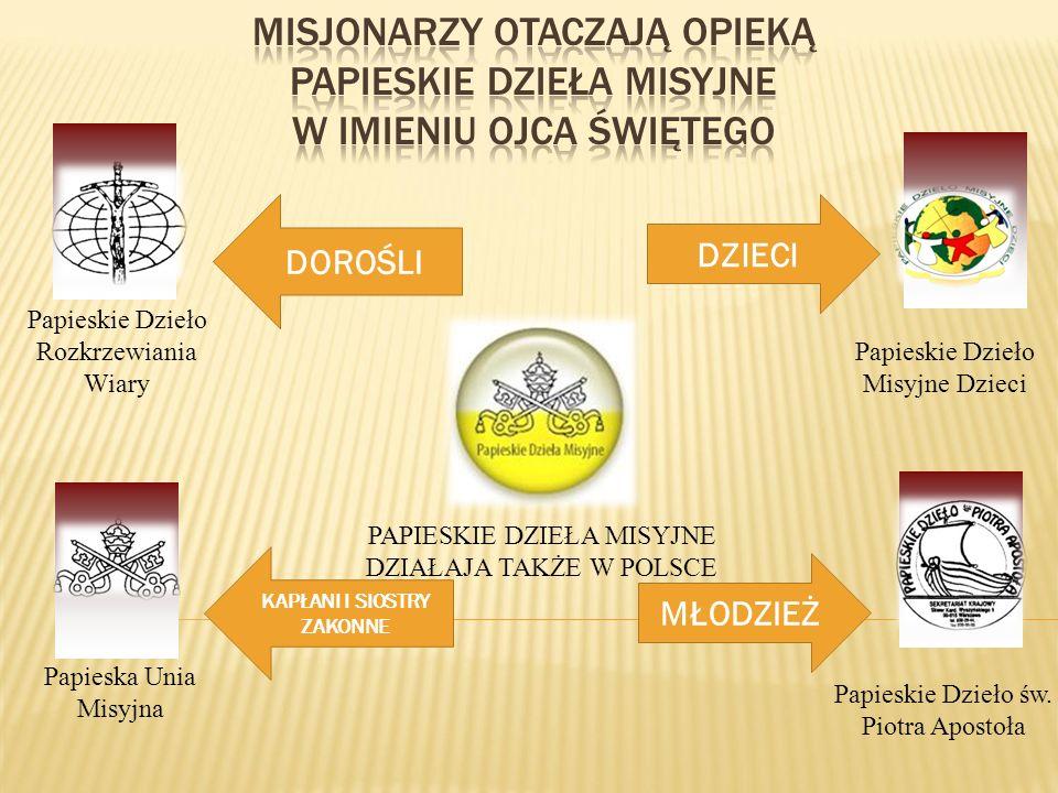 Papieska Unia Misyjna Papieskie Dzieło Rozkrzewiania Wiary PAPIESKIE DZIEŁA MISYJNE DZIAŁAJA TAKŻE W POLSCE Papieskie Dzieło Misyjne Dzieci Papieskie