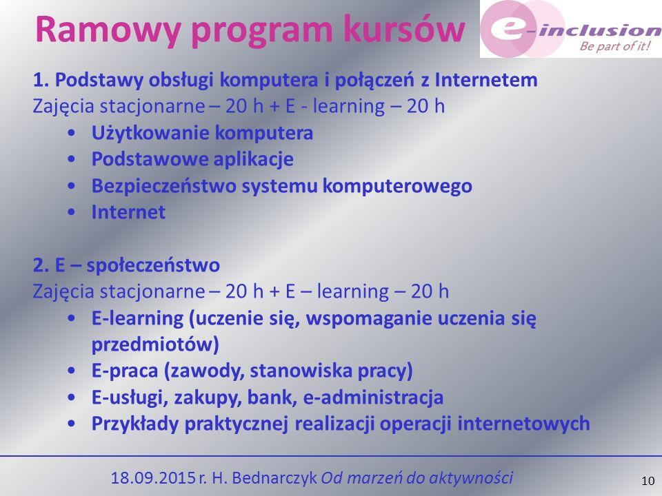 10 Ramowy program kursów 1.