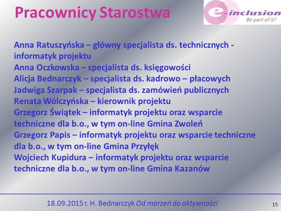 15 Pracownicy Starostwa Anna Ratuszyńska – główny specjalista ds.