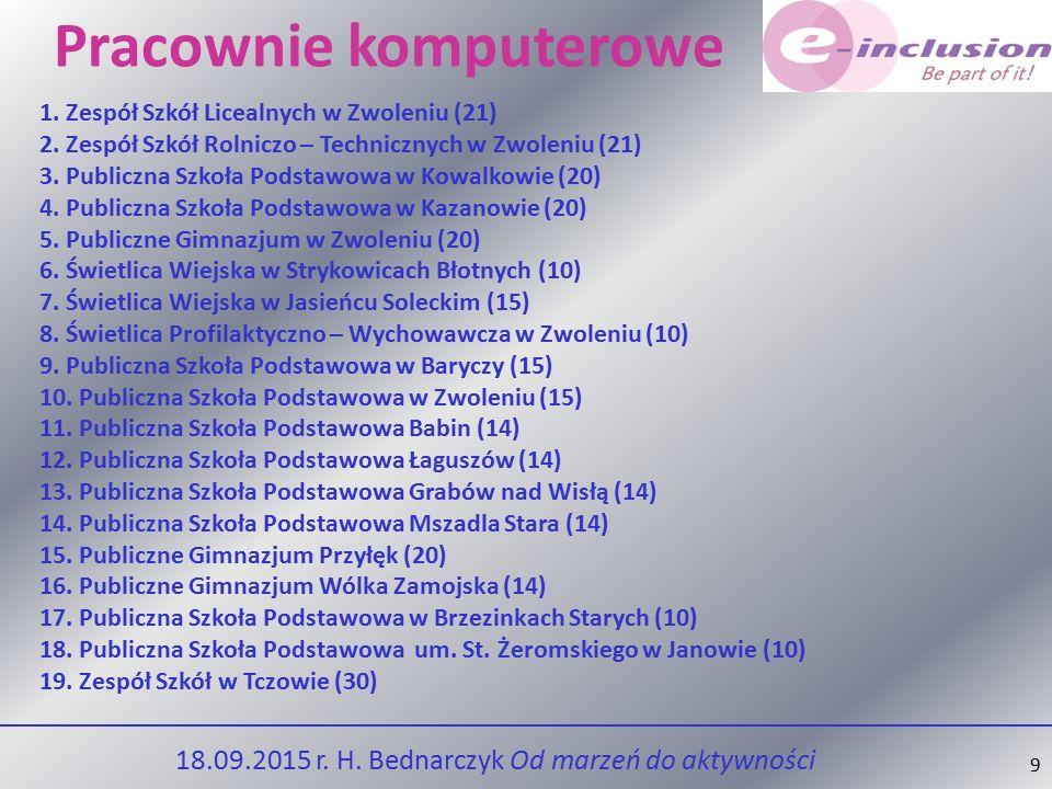 9 Pracownie komputerowe 1.Zespół Szkół Licealnych w Zwoleniu (21) 2.