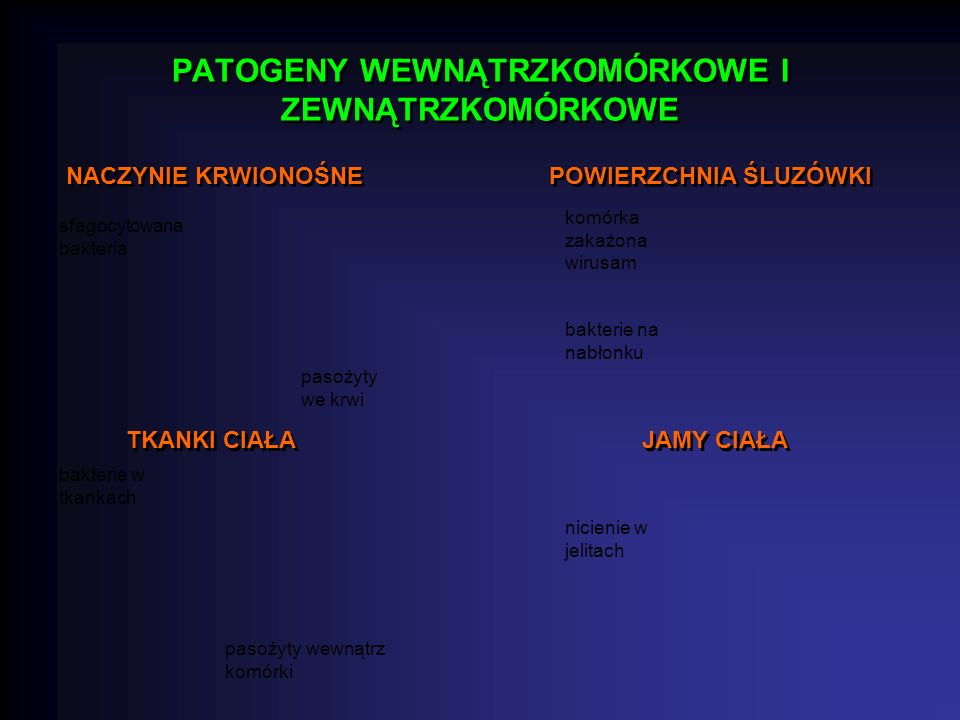 PATOGENY WEWNĄTRZKOMÓRKOWE I ZEWNĄTRZKOMÓRKOWE NACZYNIE KRWIONOŚNE POWIERZCHNIA ŚLUZÓWKI TKANKI CIAŁA JAMY CIAŁA sfagocytowana bakteria pasożyty we krwi komórka zakażona wirusam bakterie na nabłonku bakterie w tkankach pasożyty wewnątrz komórki nicienie w jelitach