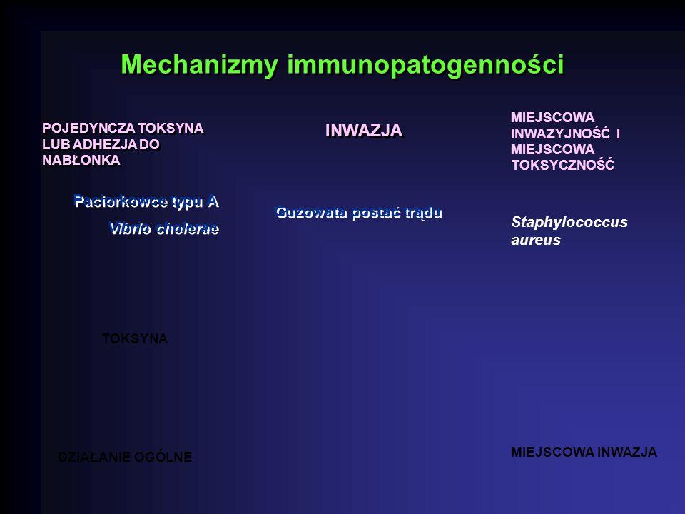 Mechanizmy immunopatogenności POJEDYNCZA TOKSYNA LUB ADHEZJA DO NABŁONKA INWAZJA MIEJSCOWA INWAZYJNOŚĆ I MIEJSCOWA TOKSYCZNOŚĆ TOKSYNA DZIAŁANIE OGÓLNE MIEJSCOWA INWAZJA Staphylococcus aureus Guzowata postać trądu Paciorkowce typu A Vibrio cholerae Paciorkowce typu A Vibrio cholerae