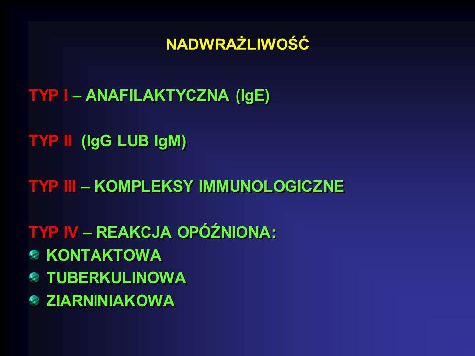 NADWRAŻLIWOŚĆ TYP I – ANAFILAKTYCZNA (IgE) TYP II (IgG LUB IgM) TYP III – KOMPLEKSY IMMUNOLOGICZNE TYP IV – REAKCJA OPÓŹNIONA: KONTAKTOWA TUBERKULINOWA ZIARNINIAKOWA TYP I – ANAFILAKTYCZNA (IgE) TYP II (IgG LUB IgM) TYP III – KOMPLEKSY IMMUNOLOGICZNE TYP IV – REAKCJA OPÓŹNIONA: KONTAKTOWA TUBERKULINOWA ZIARNINIAKOWA