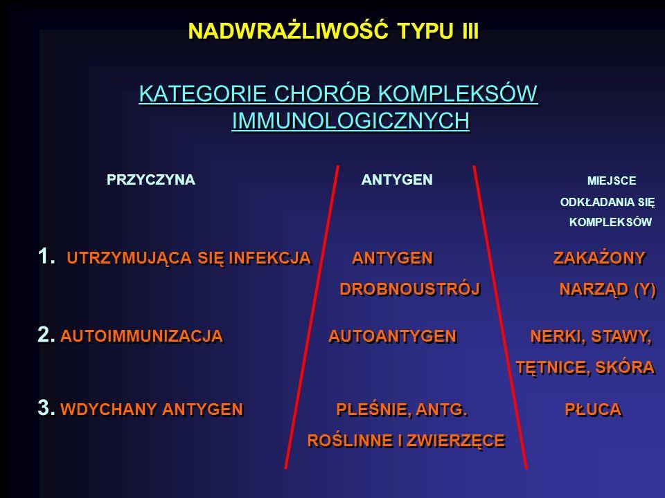 NADWRAŻLIWOŚĆ TYPU III KATEGORIE CHORÓB KOMPLEKSÓW IMMUNOLOGICZNYCH 1.