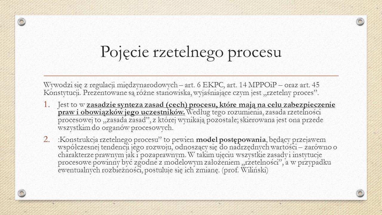 Pojęcie rzetelnego procesu Wywodzi się z regulacji międzynarodowych – art.