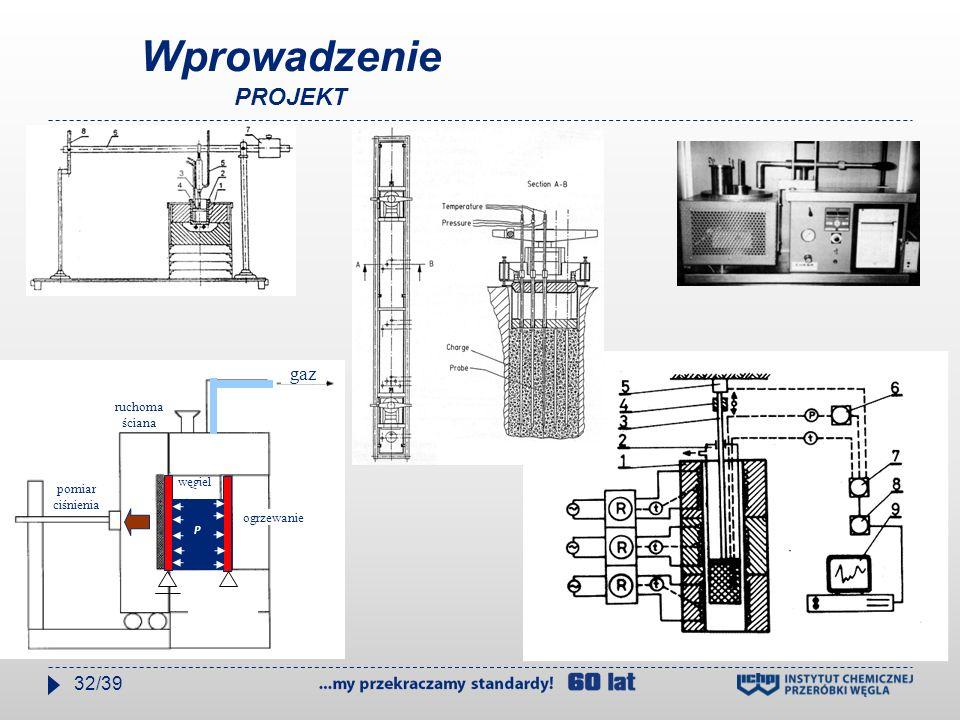 Wprowadzenie PROJEKT węgiel gaz ruchoma ściana ogrzewanie pomiar ciśnienia ogrzewa nie P 32/39