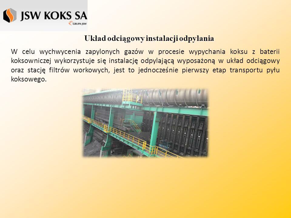 Układ odciągowy instalacji odpylania W celu wychwycenia zapylonych gazów w procesie wypychania koksu z baterii koksowniczej wykorzystuje się instalację odpylającą wyposażoną w układ odciągowy oraz stację filtrów workowych, jest to jednocześnie pierwszy etap transportu pyłu koksowego.