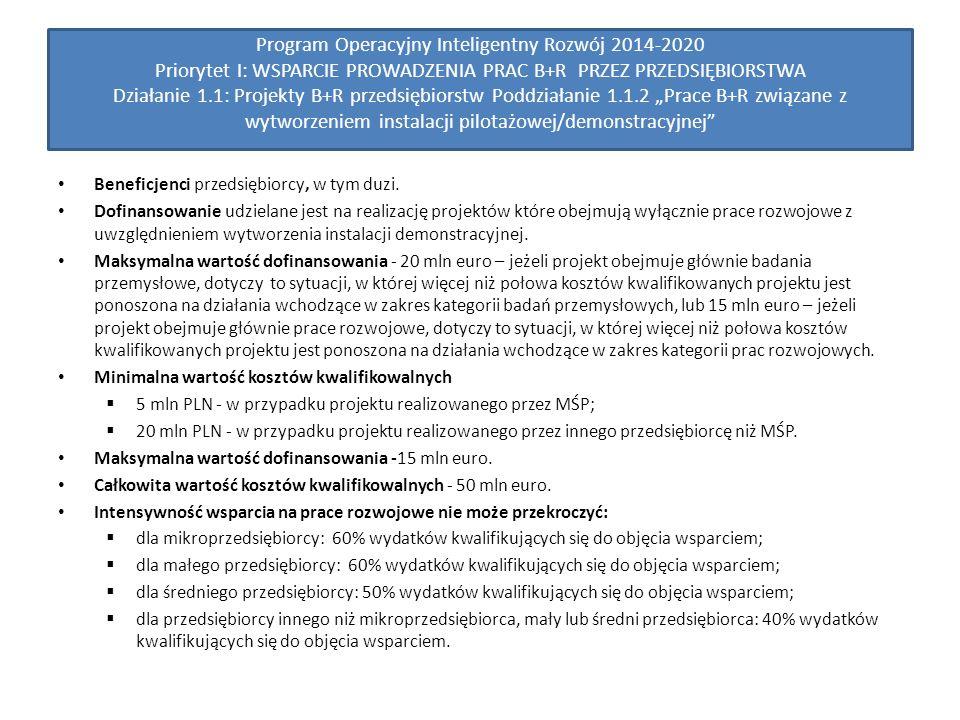 """Program Operacyjny Inteligentny Rozwój 2014-2020 Priorytet I: WSPARCIE PROWADZENIA PRAC B+R PRZEZ PRZEDSIĘBIORSTWA Działanie 1.1: Projekty B+R przedsiębiorstw Poddziałanie 1.1.2 """"Prace B+R związane z wytworzeniem instalacji pilotażowej/demonstracyjnej Beneficjenci przedsiębiorcy, w tym duzi."""