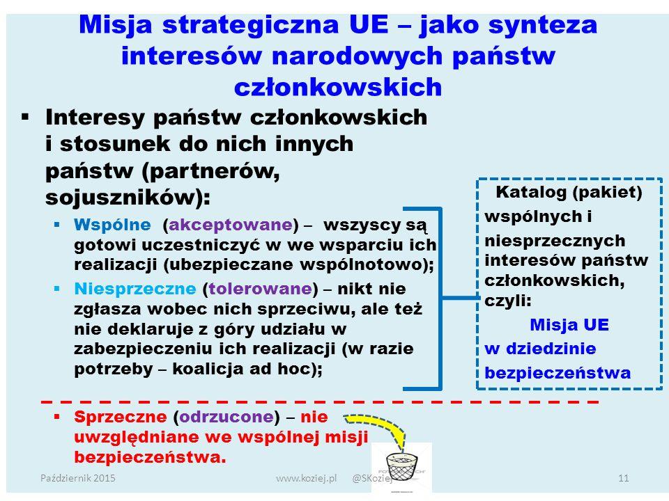 Misja strategiczna UE – jako synteza interesów narodowych państw członkowskich  Interesy państw członkowskich i stosunek do nich innych państw (partnerów, sojuszników):  Wspólne (akceptowane) – wszyscy są gotowi uczestniczyć w we wsparciu ich realizacji (ubezpieczane wspólnotowo);  Niesprzeczne (tolerowane) – nikt nie zgłasza wobec nich sprzeciwu, ale też nie deklaruje z góry udziału w zabezpieczeniu ich realizacji (w razie potrzeby – koalicja ad hoc);  Sprzeczne (odrzucone) – nie uwzględniane we wspólnej misji bezpieczeństwa.