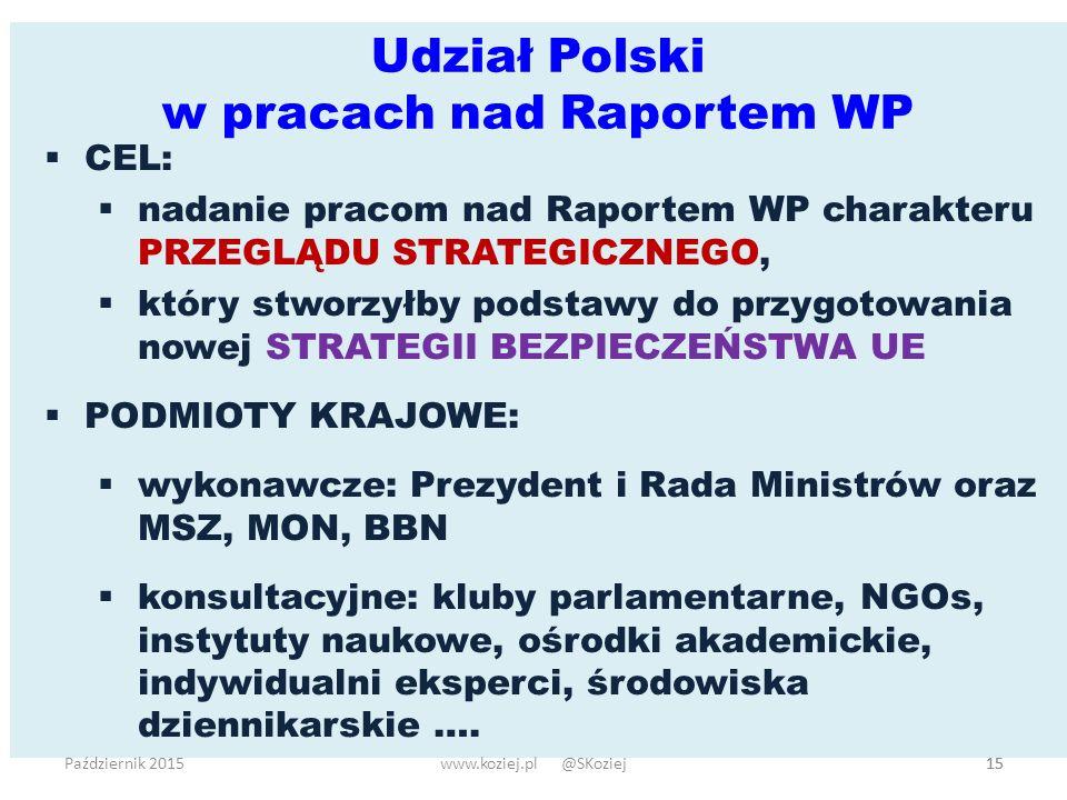 Udział Polski w pracach nad Raportem WP 15  CEL:  nadanie pracom nad Raportem WP charakteru PRZEGLĄDU STRATEGICZNEGO,  który stworzyłby podstawy do przygotowania nowej STRATEGII BEZPIECZEŃSTWA UE  PODMIOTY KRAJOWE:  wykonawcze: Prezydent i Rada Ministrów oraz MSZ, MON, BBN  konsultacyjne: kluby parlamentarne, NGOs, instytuty naukowe, ośrodki akademickie, indywidualni eksperci, środowiska dziennikarskie ….