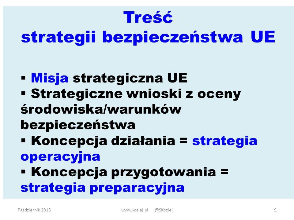 Październik 2015www.koziej.pl @SKoziej9 Treść strategii bezpieczeństwa UE  Misja strategiczna UE  Strategiczne wnioski z oceny środowiska/warunków bezpieczeństwa  Koncepcja działania = strategia operacyjna  Koncepcja przygotowania = strategia preparacyjna