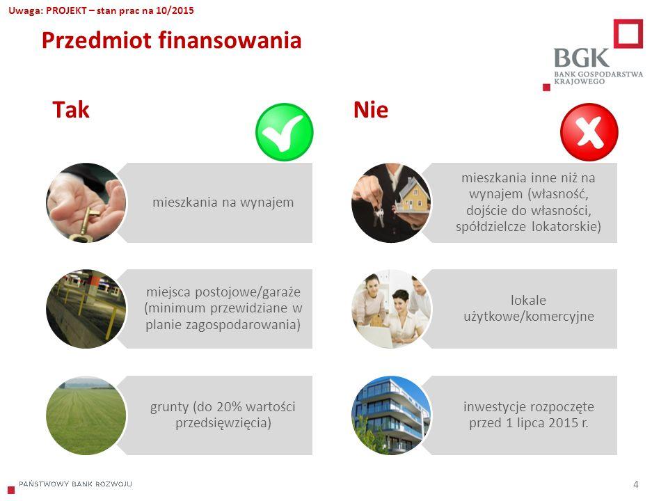 204/204/204 218/32/56 118/126/132 183/32/51 227/30/54 4 Przedmiot finansowania mieszkania na wynajem miejsca postojowe/garaże (minimum przewidziane w planie zagospodarowania) grunty (do 20% wartości przedsięwzięcia) mieszkania inne niż na wynajem (własność, dojście do własności, spółdzielcze lokatorskie) lokale użytkowe/komercyjne inwestycje rozpoczęte przed 1 lipca 2015 r.