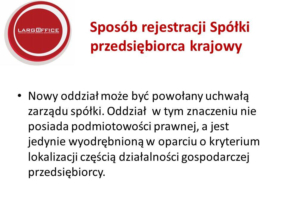 Sposób rejestracji Spółki przedsiębiorca krajowy Nowy oddział może być powołany uchwałą zarządu spółki.