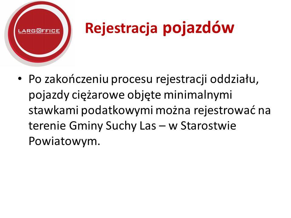 Rejestracja pojazdów Po zakończeniu procesu rejestracji oddziału, pojazdy ciężarowe objęte minimalnymi stawkami podatkowymi można rejestrować na terenie Gminy Suchy Las – w Starostwie Powiatowym.