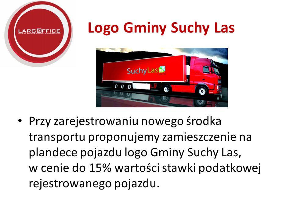 Logo Gminy Suchy Las Przy zarejestrowaniu nowego środka transportu proponujemy zamieszczenie na plandece pojazdu logo Gminy Suchy Las, w cenie do 15% wartości stawki podatkowej rejestrowanego pojazdu.