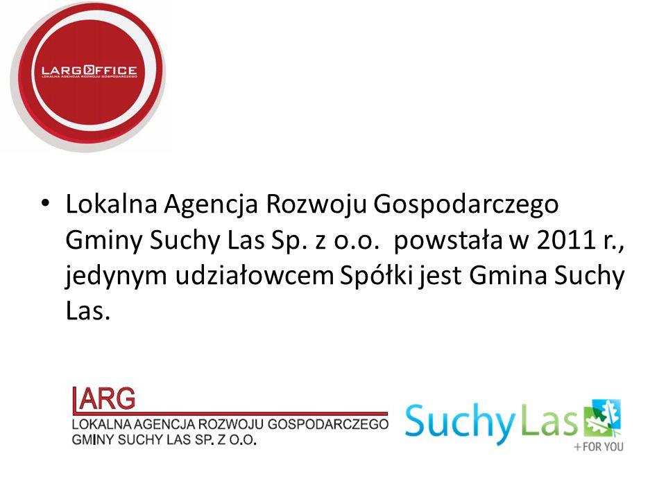 Lokalna Agencja Rozwoju Gospodarczego Gminy Suchy Las Sp. z o.o. powstała w 2011 r., jedynym udziałowcem Spółki jest Gmina Suchy Las.