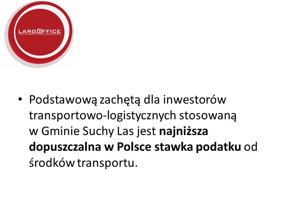 Podstawową zachętą dla inwestorów transportowo-logistycznych stosowaną w Gminie Suchy Las jest najniższa dopuszczalna w Polsce stawka podatku od środk