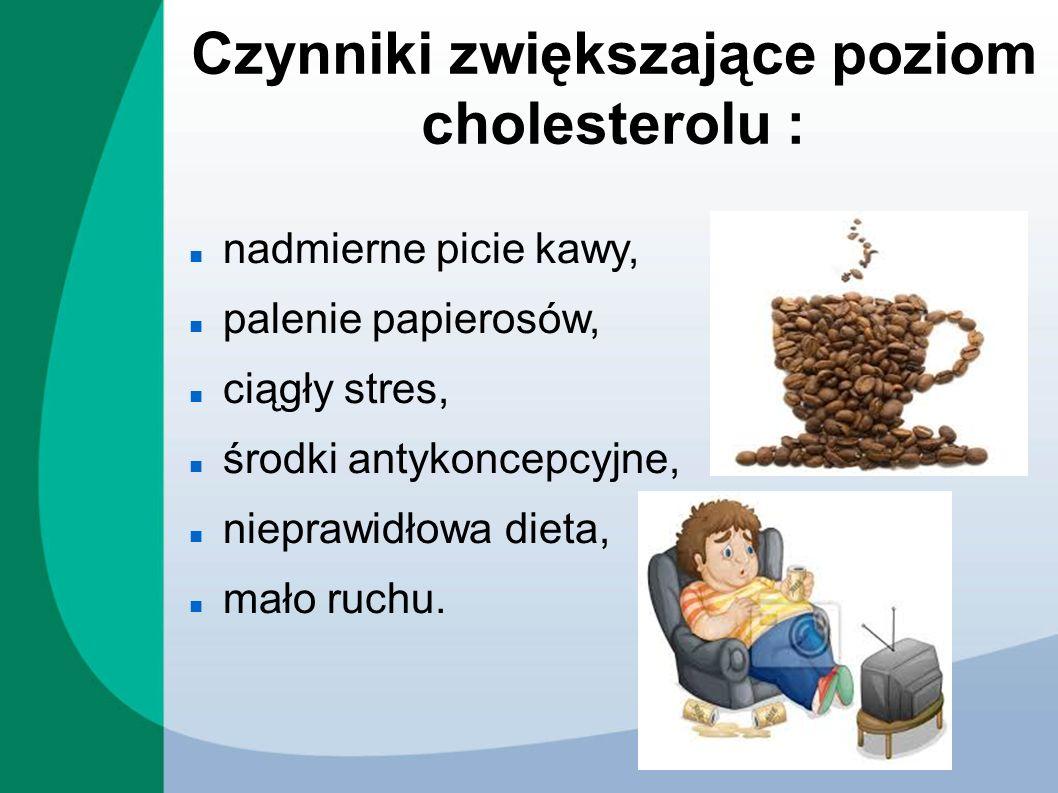 Czynniki zwiększające poziom cholesterolu : nadmierne picie kawy, palenie papierosów, ciągły stres, środki antykoncepcyjne, nieprawidłowa dieta, mało