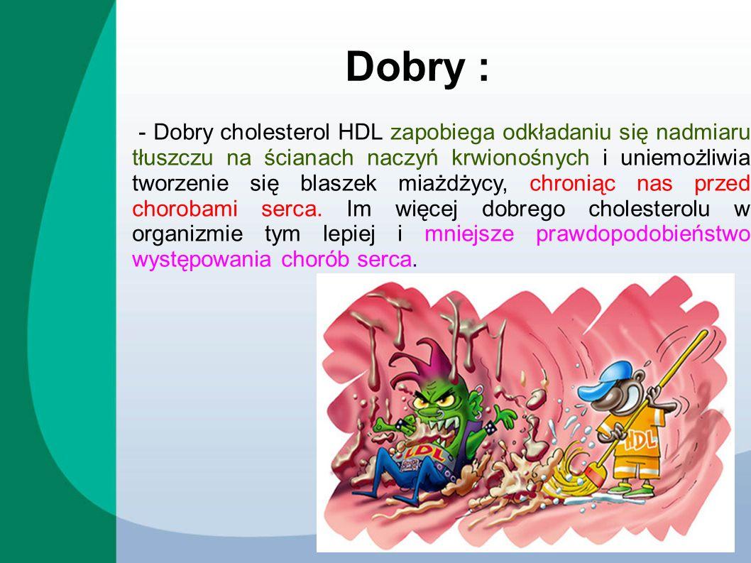 - Dobry cholesterol HDL zapobiega odkładaniu się nadmiaru tłuszczu na ścianach naczyń krwionośnych i uniemożliwia tworzenie się blaszek miażdżycy, chr