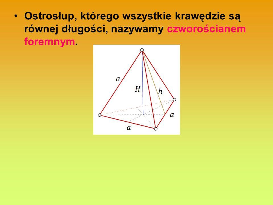 Ostrosłup, którego wszystkie krawędzie są równej długości, nazywamy czworościanem foremnym.